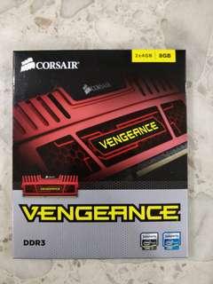 8GB (2 x 4GB) Red Corsair Vengeance DDR3-1600 Desktop RAM
