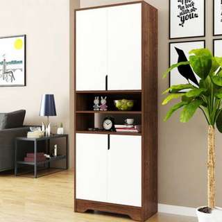 Stylish Big Shoe Cabinet (Dark Brown with White)