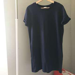 Navy T Shirt Dress with Side Pockets.