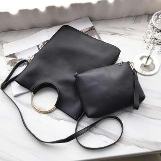 Women Fold Clutch Portable Bag Messenger Sling Bag Korean Fashion Chic Bags [Black/Wine Red/Brown/Grey/Pink]