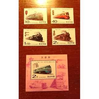 朝鮮郵票- 國產火車(套票+小型張)
