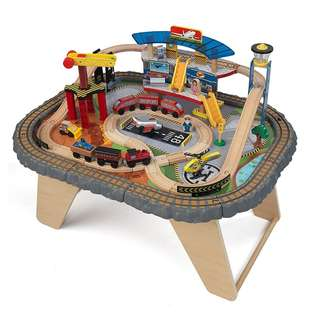 (PO) BN KidKraft 17564.0 Transportation Station Wooden Train Set and Table Toy