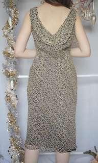 Leopard print silk cowl back dress