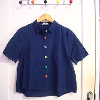 Navy Shirt with Button #maudecay