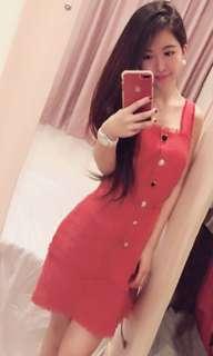 🚚 正韓寶石釦紅色洋裝