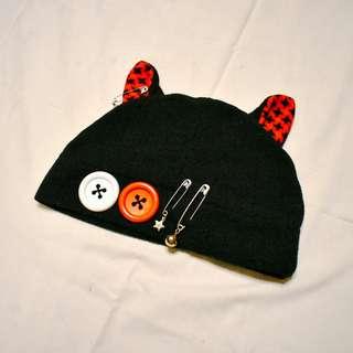 Black and Red Cat Hat (Fleece)