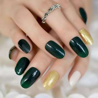 24 pcs Gorgeous Dark Green Oval Acrylic Gel Nail Tip