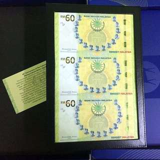 3-in-1 uncut RM60 commemorative banknote