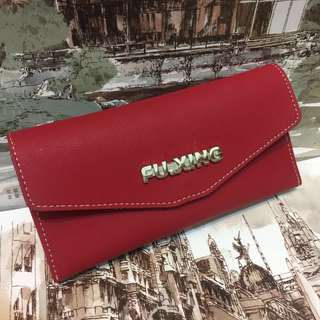🚚 FU.XING手工雙層薄女用長皮夾 (紅款)