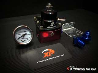 FUEL REGULATOR AEROMOTIVE Black Red set with meter universal