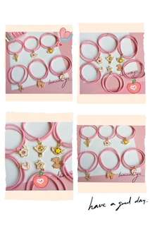 韓國粉色少女心扎頭髮圈一套六款$40📮包郵