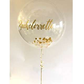 🚚 [Helium Inflated] 24 inch Personalized Bubble Balloon with Confetti