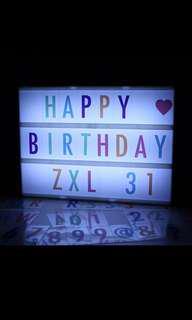 A4 lightbox alphabet. Colourful letters