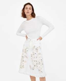 OshareGirl 07 歐美女士刺繡串珠裝飾流蘇下擺牛仔裙長裙