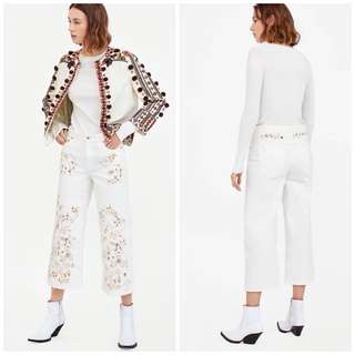 OshareGirl 07 歐美女士刺繡串珠裝飾牛仔褲
