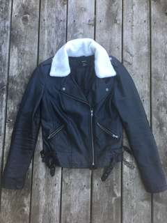 Shearling collar (detachable) leather jacket