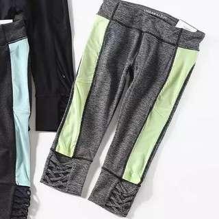 🚚 101299韓版時尚簡約透氣鬆緊彈力健身瑜伽褲10age~12age