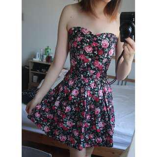 Black floral summer strapless dress