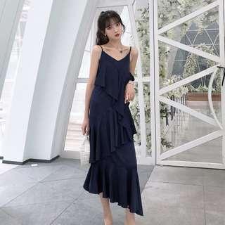 AB1989 (全新) 女裝 長裙寬松優雅氣質荷葉邊外穿打底純色吊帶連衣裙