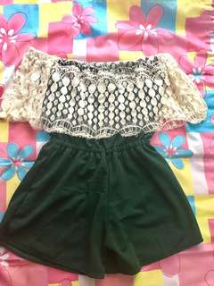 ON HAND Off-shoulder Lace Jumpshort