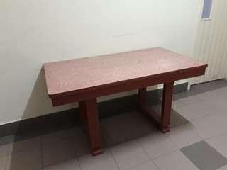 vintage Art Deco formica U-leg teakwood table