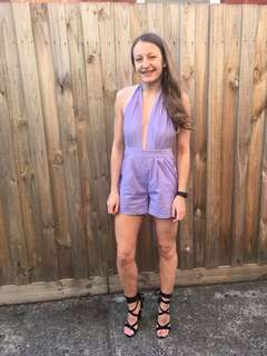 Lilac Purple Frill Backless Jumpsuit - Hire