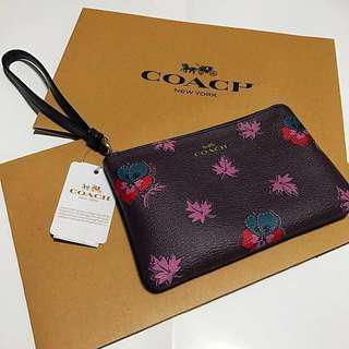 COACH wildflower print corner zip wristlet