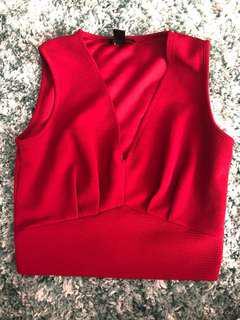 Red deep v-neck