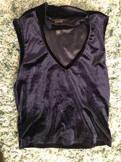 Dark blue velvet choker shirt