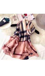 Tartan pink scarf (burberry style) 100% silk