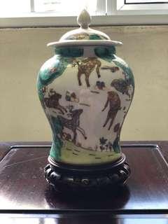 Porcelain Jar with deer painting