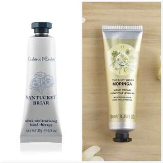 [Free Shipping] Crabtree & Evelyn Nantucket Briar Hand Therapy Cream, The Body Shop Moringa Hand Cream