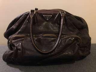 Vintage Prada all-leather shoulder/tote
