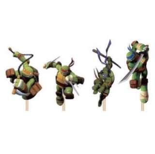 12 pcs Teenage Mutant Ninja Turtles TMNT Cupcake Topper Cake Toppers Birthday Party Decoration Baking Picks Michelangelo Donatello