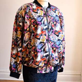 NWT NICOLE MILLER vintange Barbie silk print bombers Jacket