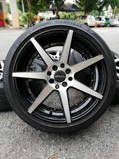 Vossen cv7 17 inch sports rim almera tyre 70%. *rim paling kacak 2018, sudah semestinya vossen!!!*