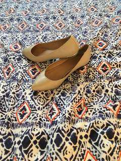 Nude Pointed Toe Flats with Gold Detail