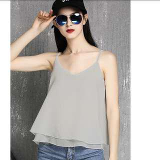 🚚 ✨[INSTOCK] 2 for $15 Grey Chiffon v neck Top