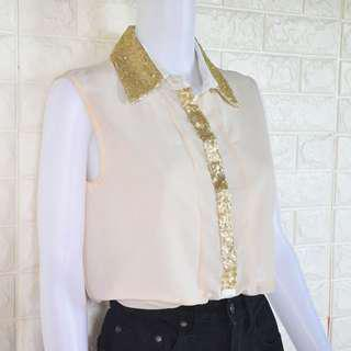 Ci Ci London gold-sequined top