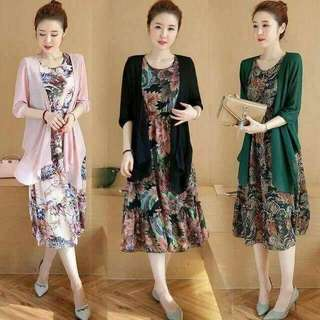 RS PRICE: 400  RESTOCK:BEST SELLER 2IN1 DRESS WITH CARDIGAN *3 colors *fabric:thick cotton *free size:fit S to L frame *cm