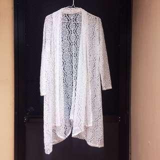 White lace maxi cardigan/coverup