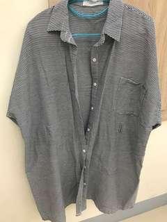 🚚 二手。橫條襯衫。罩衫。外套。長版。任何尺寸皆可