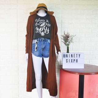 Brown long cardigan with pockets