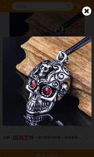 🚚 歐美風格紅眼空心骷髏頭項鍊(全新)