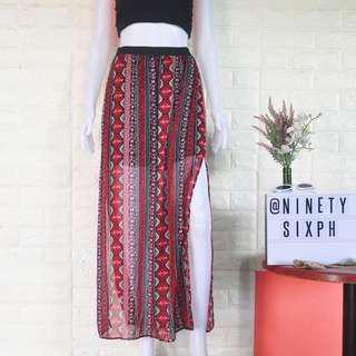 Auth Divided by H&M boho slit maxi skirt
