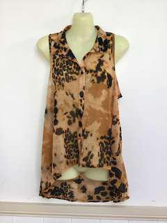 Sports girl Au M Brown Black Loeperd Sleeveless High Low Boho Chic Top