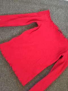 Glassons red off the shoulder top