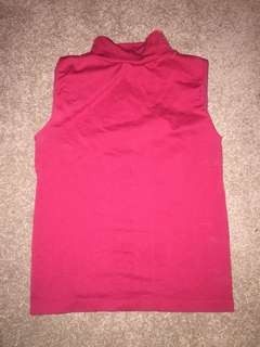 Red High Neck Crop Top Small Good Condition