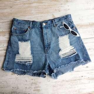 Auth Monki tattered denim shorts
