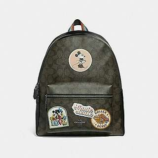 CHARLIE BACKPACK IN SIGNATURE CANVAS WITH MINNIE MOUSE PATCHES COACH F29355 BROWN